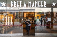 Pret a Manger with a customer in a face mask
