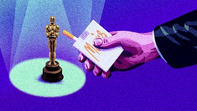 Illustration of an Oscar and a pack of cigarettes